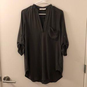 Utility green tunic blouse